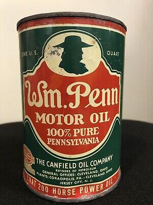 Original Wm Penn 1 Qt Motor Oil Can Pennsylvania 100% Canfield Gas Oil Company