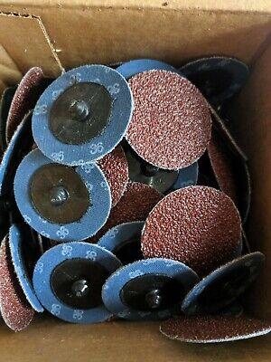 """3/"""" Zirconia 40 Grit Quick Change Sanding Disc Black Hawk 50 Pack Type R Roloc"""