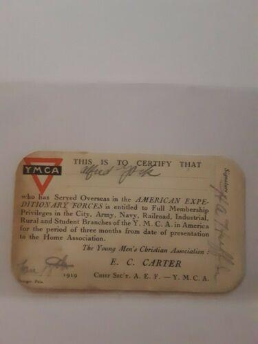 Antique WWI Veteran USA YMCA 1919 A. York Membership Card Young Men Christian