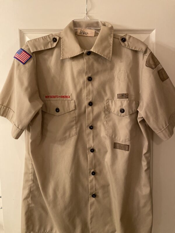Boy Scout BSA UNIFORM SHIRT Mens Extra Large XL Short Sleeve Tan C21