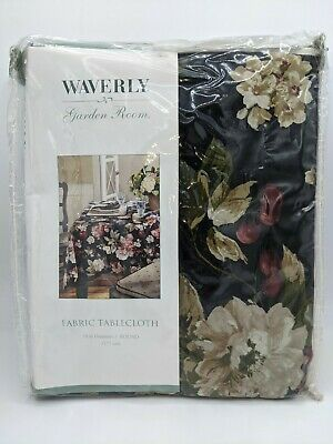 """Waverly Garden Room Fabric Tablecloth 70"""" Round"""
