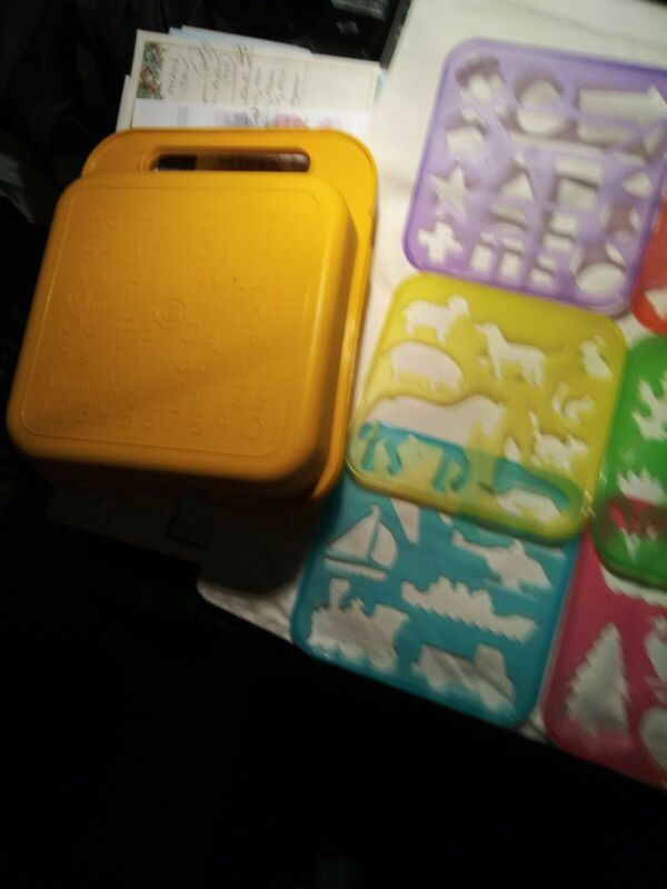 """RARE""  TUPPERWARE STENCIL SUPER SET IN VERY NICE PLASTIC BOX...MANY EXTRAS"