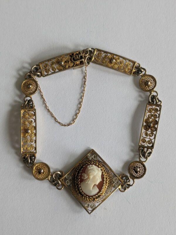 Vintage Sterling Filigree Carved Shell Cameo Bracelet