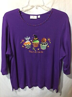 Quacker Factory Womens Purple Halloween Cupcake 3/4 Sleeve Casual Shirt Size 2X