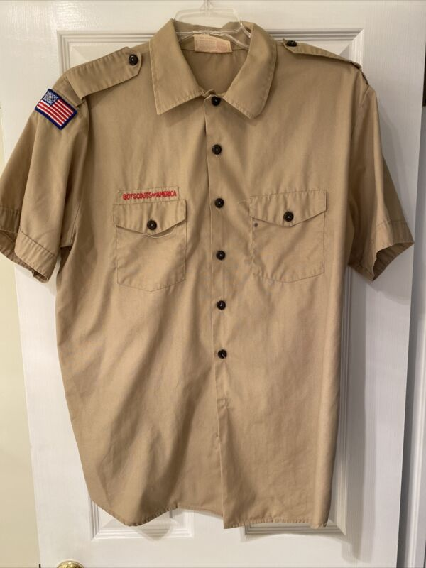 Boy Scout BSA UNIFORM SHIRT Tan Mens Extra Large XL Short Sleeve I13