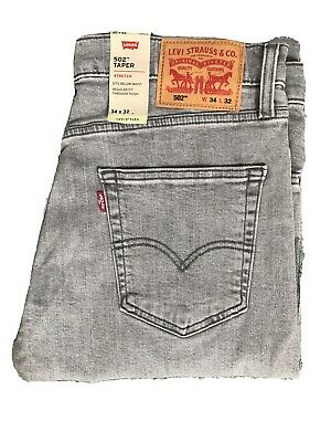 "NWT Men's Levi's Flex 502 Taper Fit Flex Stretch Jeans - Coconut Gray 34""x32"""