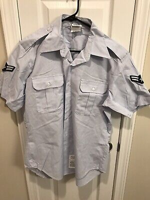 US AIR FORCE USAF SHIRT MENS SHORT SLEEVE UNIFORM DRESS BLUE ALL SIZES - Us Air Force Uniforms