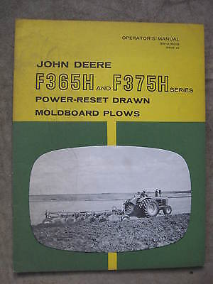 John Deere F365H F375H Moldboard Plow operators manual ORIGINAL