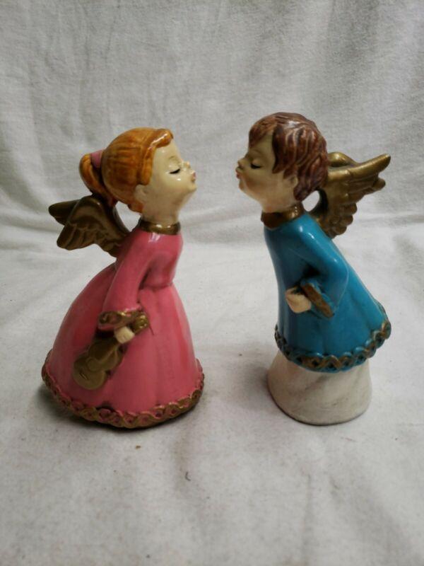 "Vintage Kissing Angels Christmas Paper Mache Figurines 6"" Christmas 920"