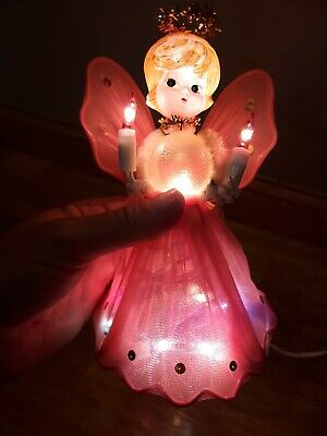 Vtg Christmas Tree Topper Angel Net Retro Light Up Bubble Body Gold Lights Works