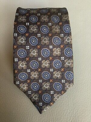 Recent Ermenegildo Zegna Blue Gold Geometric Patterned Silk Tie Made in Italy