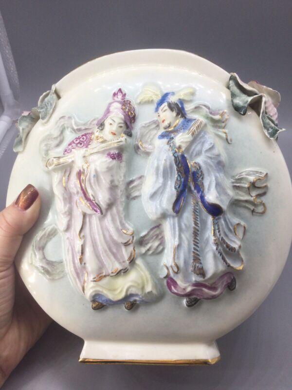 CORDEY Cybis Porcelain Ceramic Farmer Planter Garden Vase Drainage hole Azure
