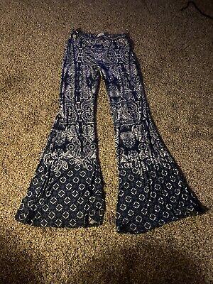 Juniors Abercrombie & Fitch Wide Leg Pants Blues/Pattern Sz M
