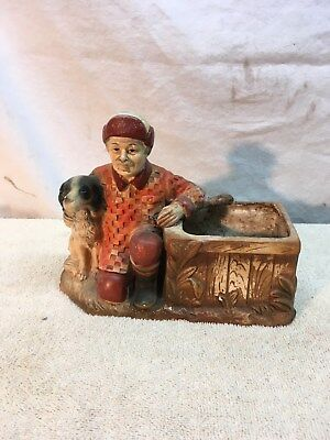 Vintage Inarco Ceramic JAPAN Planter Bird Dog and Man Hunter with gun Mid Centur