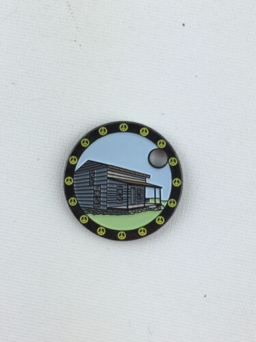 Pathtag Geocoin Geocache Tag #22222 George Rogers Clark Cabin By: GeoWoodstock X