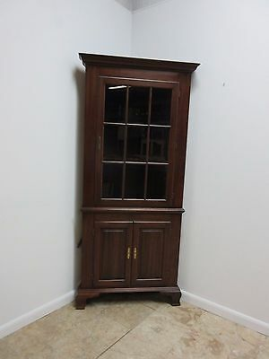 Hitchcock Solid Cherry Chippendale Corner Crystal China Cabinet Hutch  B