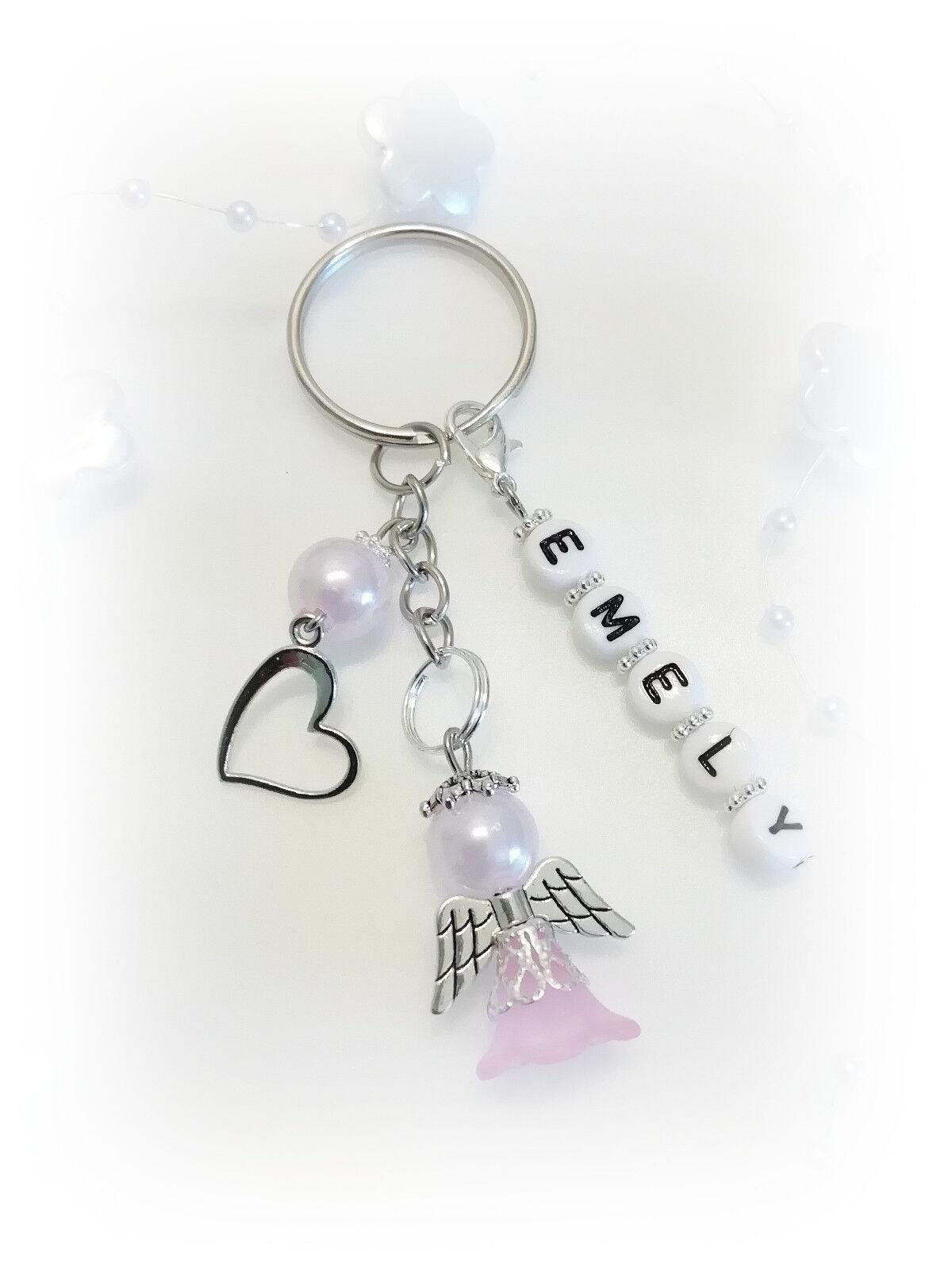 Perlenschutzengel Schlüssel-Anhänger Rosa mit Wunschname-Geschenk Handmade Neu
