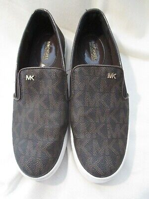 Michael Kors MK Logo Black & Brown Printed Keaton Slip On Sneakers Sz 40 US Sz 9