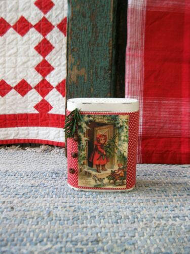 Early Antique Pantry Tin  Red Calico Christmas Postcard Print