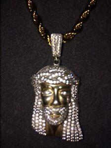 Rope chain with diamond jesus pendant