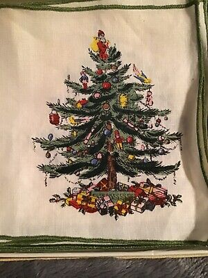 Spode Christmas Tree Linen Cocktail Napkins~Set of 8 in Original Box