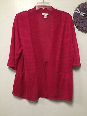 Pink Shrug - Womens sweater style knit shrug size XL pink acrylic open front Kim Rogers 68