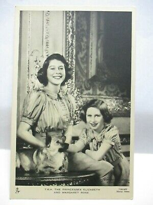 """WWII TUCK PHOTO POSTCARD """" T.R.H. PRINCESS ELIZABETH & MARGARET ROSE """" W/ DOG"""