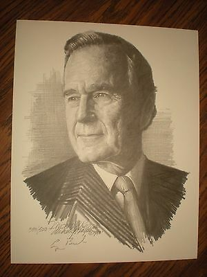 Vtg 1988 President George H W  Bush Signed Portrait By Artist Michael Reagan