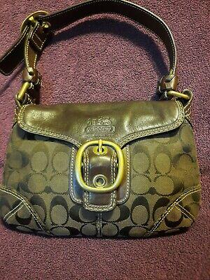 Coach Signature Logo Leather Canvas Small Shoulder Bag G0773-11441