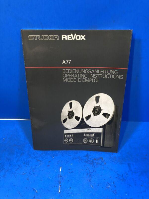 Revox A77 Manual Operating Instructions