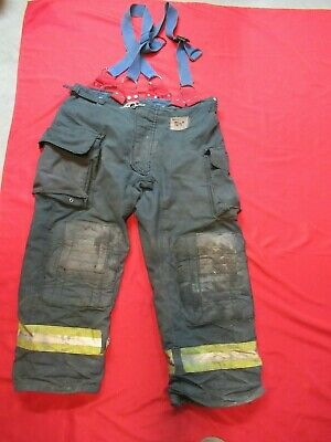 Morning Pride Fire Fighter Turnout Pants 44 X 30 Black Bunker Gear Suspenders