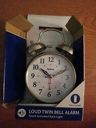 Sharp Twin Bell Alarm Clock, Back Light, Silver, New w/Damaged Box #65