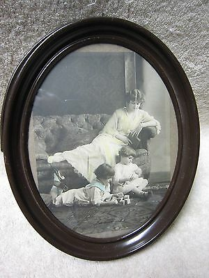 """Vintage Oval Metal Framed Picture, """"The Children's Hour"""" with Glass"""