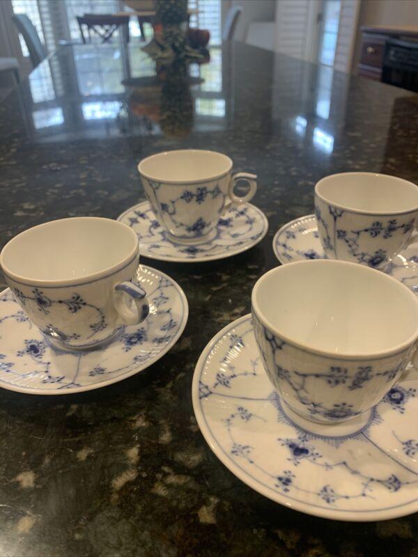 4 Royal Copenhagen Blue Fluted Plain Porcelain Demitasse (espresso)Cup Saucer
