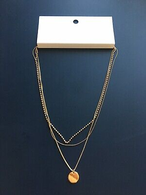 H&M HM Gold colour metal chain multi chain necklace costume jewellery BNWT NEW