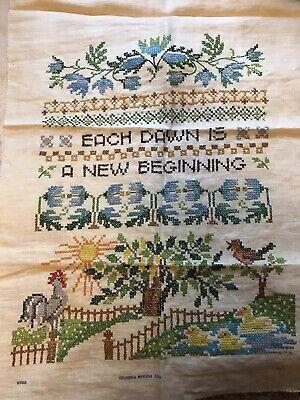 Each Dawn Is A New Beginning Cross Stitch Positivity MCM Vintage Retro 70s