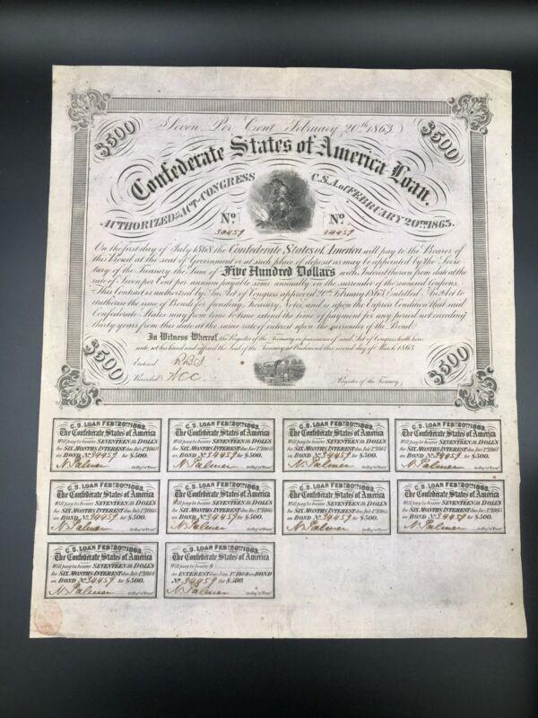 Complete untrimmed 1863 Civil War $500 bond 10 $17 coupons uncut treasury stamp^