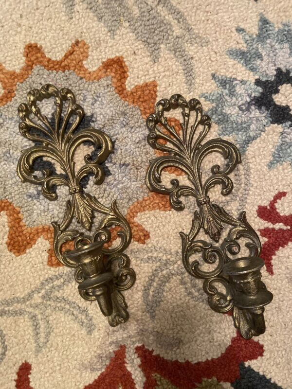Pair Of Vintage Brass Ornate Candle Holder Wall Scones  Shabby Boho Chic