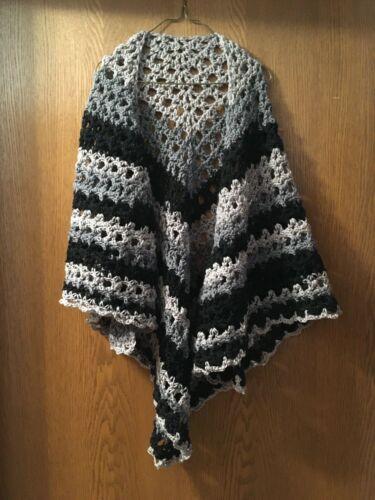 crochet handmade shawl black gray one size junior small medium large xlarge