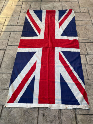 WW2 Large Original British Union Jack Cotton Linen Flag 180cm x 85cm VE Day