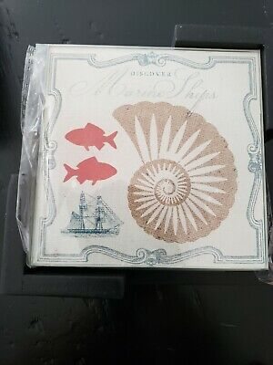 Set of 4 Glass Coasters with Wooden Caddy-Starfish/Seahorse/Seashell/Coral