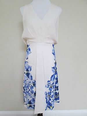 NWT Aut Max Mara Leandro White Blue Floral Silk Blend Shift Dress 46 US 12 $1525