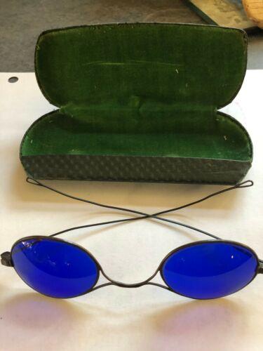 Antique Civil War Era Cobalt Blue Sun Glasses Sunglasses Vintage 1860