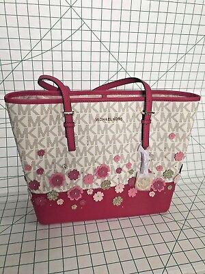 NWT Michael Kors Medium Jet Set Traveler Floral Tote Pink Vanilla PVC Handbag
