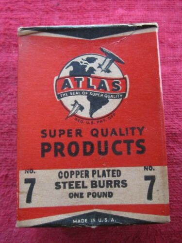 1940 ATLAS #7 COPPER PLATED RIVET BURRS 1/2 DIAMETER 3/16 HOLE 1Lb BOX 420 BURRS