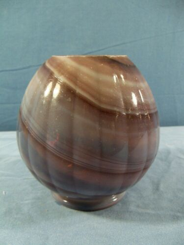 Antique Northwood Purple Slag Glass Rose Bowl Vase w/ Ribbed Design