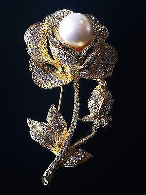 US BROOCH PIN Rhinestone Crystal Gemstone Fashion Chic Bridal Pearl Gold Flower