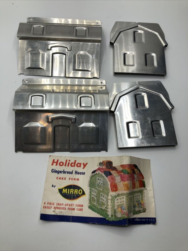 Vintage Mirro Aluminum Gingerbread House 4 Piece Snap Mold Made in the USA