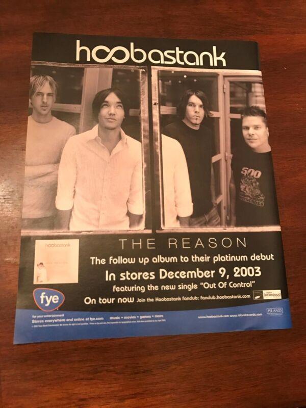 """2003 VINTAGE 10X12 ALBUM PROMO PRINT Ad FOR HOOBASTANK """"THE REASON"""""""
