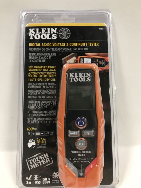 Klein Tools ET250 Digital AC/DC Voltage & Continuity Tester 600V - NEW